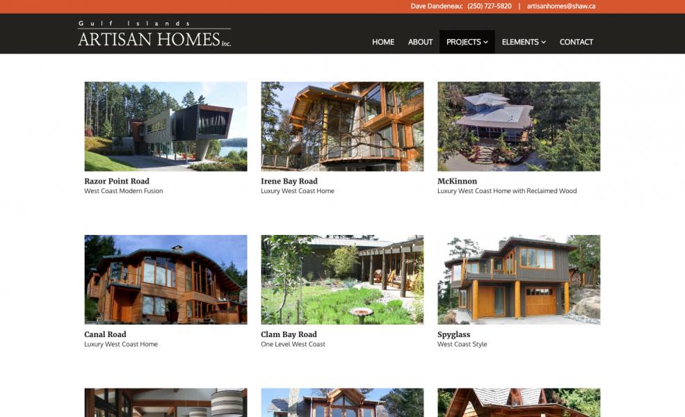 Artisan Homes Portfolio page design by Virtual Wave Media
