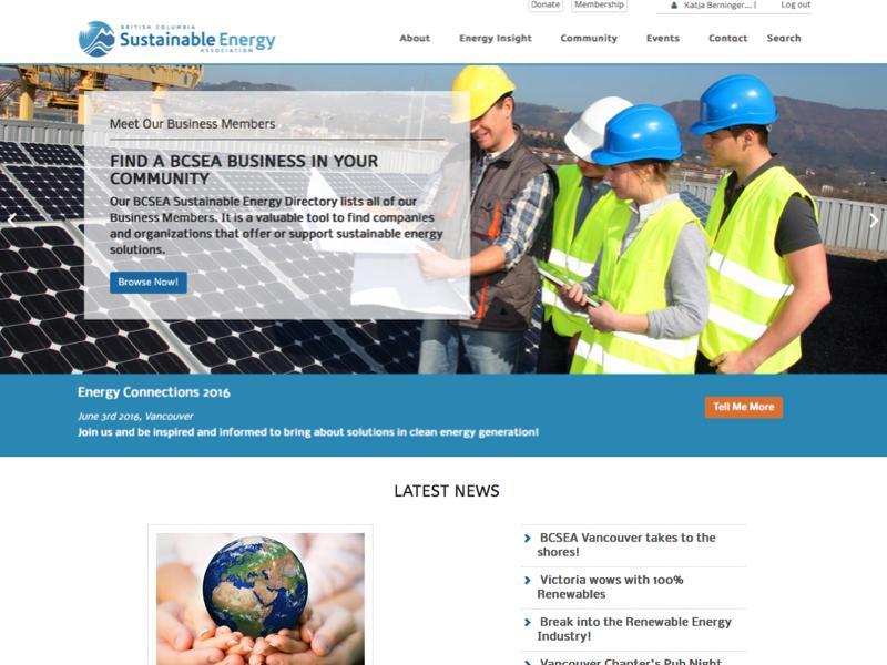 Screenshot of bcsea.org - web design project Virtual Wave Media