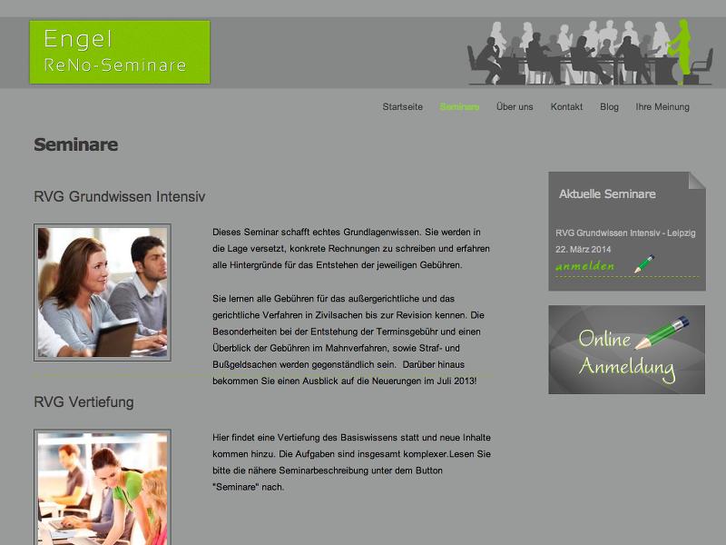 screenshot of front page www.reno-seminare