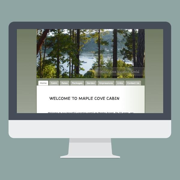 screenshot of maplecovecabin.com on a flat design IMac mockup