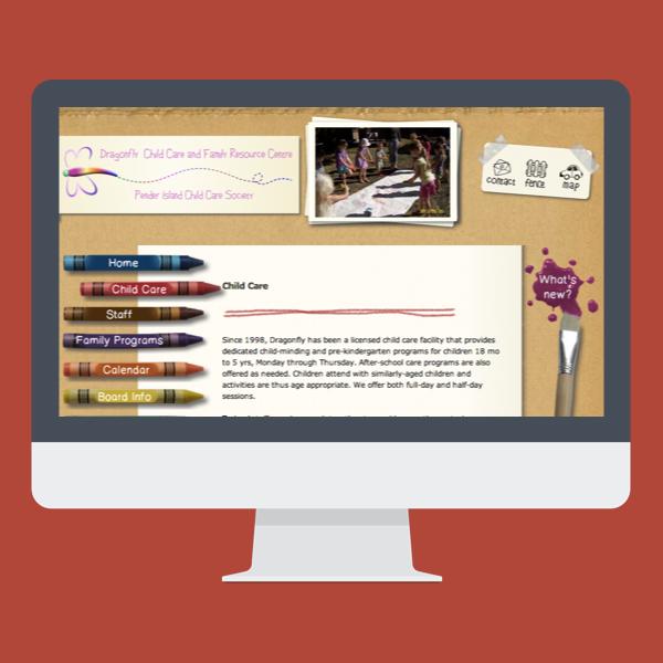 screenshot of www.dragonflycentre.ca on a flat design IMAC mockup